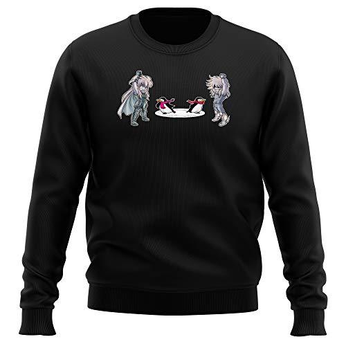 Okiwoki Pull Noir Parodie Saint Seiya - Camus du Verseau et Hyoga du Cygne - Traduction (Sweatshirt de qualité Premium de Taille S - imprimé en France)