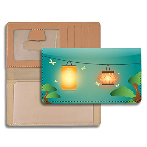 Oriental Lanterns Personal Leather Checkbook Cover for Top Tear Personal Checks