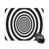 Mouse Pad Hypnotic Circles Abstract Optical Spiral Swirl Hypnotize Circular Pattern Of Black And White Rotating for Office Computers Laptop Travel Gaming Working Studying graphic designers gaming pc F