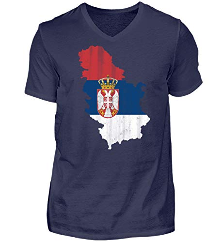 Serbien Srbija Fussball Nationalmannschaft Soccer Flagge Serbisches Trikot Landkarte - Herren V-Neck Shirt