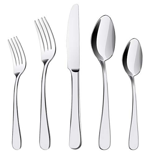 Silverware Set, 20 Pieces Flatware Cutlery Set ENLOY Stainless Steel Utensils Service for 4, Heavy Duty Gift and Dishwasher Safe, Mirror Polished...