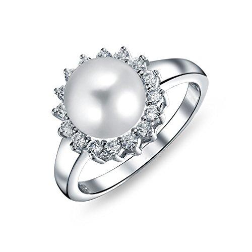 Bling Jewelry Cz Halo Solitario Bianco Coltivate Di Acqua Dolce Perla Anello Di Fidanzamento Per Donne Argento 925