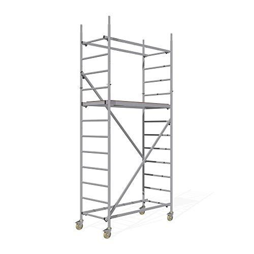 ALTEC Rollfix® 2.0 400 | 4m Arbeitshöhe | bremsb. Lenkrollen (Ø125mm) | Made in Germany | TÜV&GS | belastbar 200kg/m² | Norm - EN 1004:2005 | Modulares Alu Arbeitsgerüst | Baugerüst | Fahrgerüst