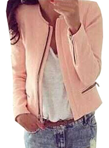 Damen Kurz Mantel Mode Casual Oberteile Cardigan Jacke Lange Ärmel Tasche Kimono Tunika Tops Slim Einfarbig War Dünn Reißverschluss Coat