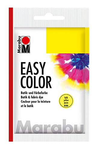 Marabu 17350022020 - Easy Color gelb, 25 g Batik- und Handfärbefarbe für Baumwolle, Leinen, Seide und Mischgewebe, handwaschbar bis 30°C, sehr gute Lichtechtheit, nicht kochecht