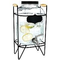 Navaris Dispensador de Bebidas con Grifo - Recipiente de Vidrio de 8 L - Botella de Cristal con Base y Cierre Giratorio - Garrafa con dosificador