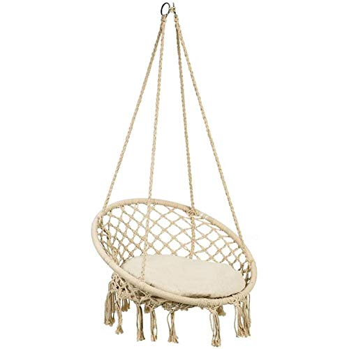 Hammock Chair Macrame Swing, Hanging Chair Swing with Cushion Max 300 Pound Hanging Cotton Rope Swing Chair with Backrest, Fringe Tassels for Bedrooms, Patio, Porch, Deck, Yard, Garden, Balcony
