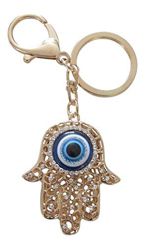 Taschenschmuck, Schlüsselanhänger, Hand der Fatima, Fatma und Auge, vergoldeter Stahl