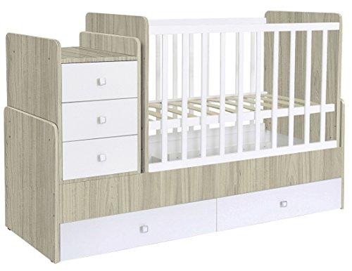 Polini Kids mitwachsendes Kombi-Kinderbett Gitterbett Babybett mit integrierter Wickelkommode und Wippfunktion: 60 x 120 cm oder 60 x 170 cm Matratzenmaß. Aus Birkenholz und MFC-Spannplatte. Ulme-Weiß