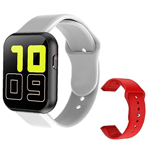 Eaarliyam Smart Watch Full Touch Bluetooth SmartWatch con Correa de Repuesto roja Prueba de frecuencia cardíaca X6 Plus Pulsera Inteligente Deportiva para Hombres Gris