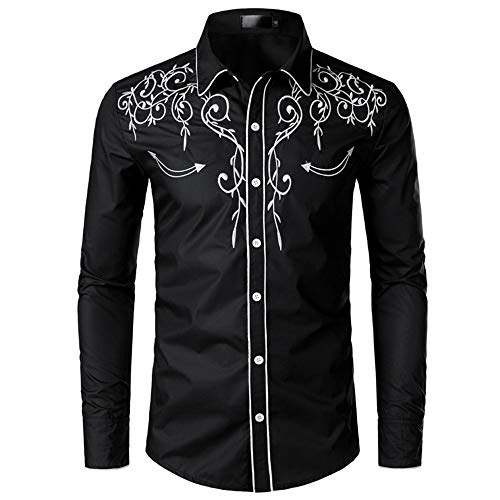 U/A Chemise de cowboy à manches longues pour homme - Motif brodé - Coupe ajustée - Décontractée - Pour fête de mariage - Noir - XL