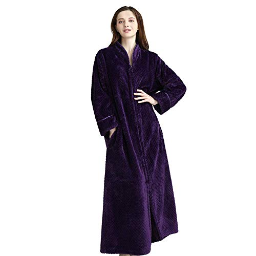Dpliu Bathrobe Ladies Plush Robe, Super Soft Plus Size Shawl Tie Pocket Zipper Home Wear Pajamas, Warm Long Cardigan Bathrobe,Purple,L