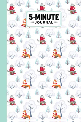 """Five Minute Journal: Premium Wolves Cover 5 Minute Journal For Practicing Gratitude, 120 Pages, Size 6"""" x 9"""" By Damon Clifford"""