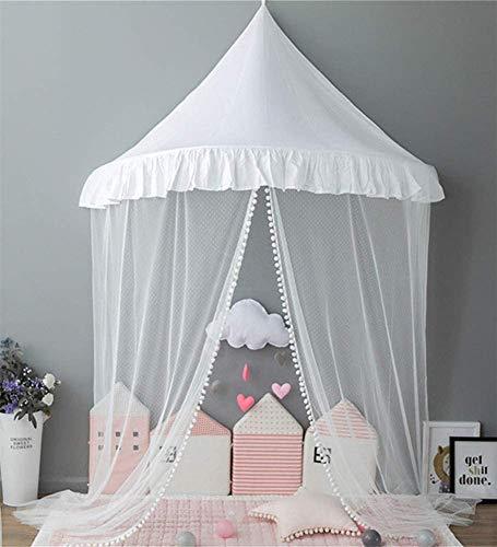 RHSMP Bed Canopy voor kinderen, prinses meisje Bed Canopy Hanging Dome Lace muggennet voor kinderbed gordijn beddengoed, E, klein