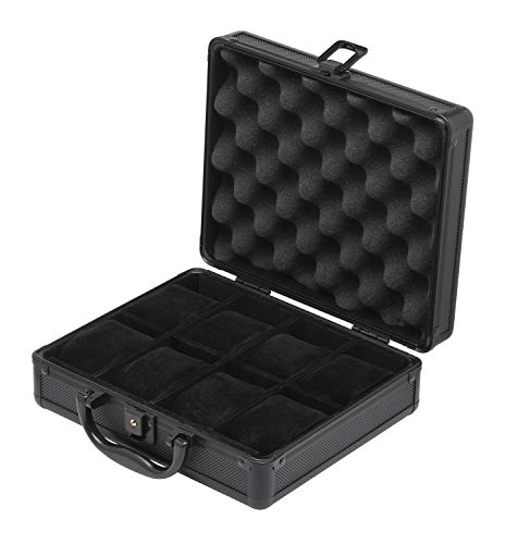 Black Watch Storage Case Aluminum Metal Briefcase for 8 Mens or Ladies Watches with Key Gift Idea Man
