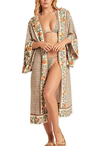 L-Peach Vestido Largo Pareo Kimono de Algodón Verano Playa Bikini Cover Up