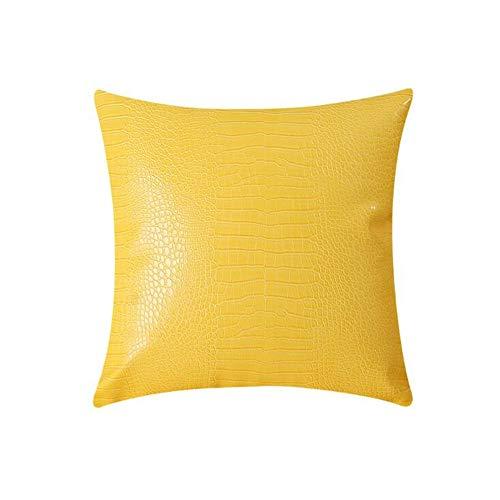 Cubiertas de cojín, 18 × 18 pulgadas PU de cuero patrón de color almohada decorativa, cubierta de almohada cuadrada, cubierta de cojín de sofá,Amarillo,set of 2