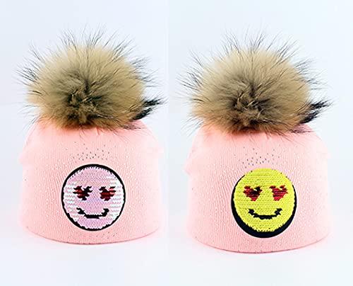 WSMYGB Sombrero De Pompón para Niños Casual De Otoño E Invierno, Gafas De Sol, Sombrero De Punto, Smiledarkpink
