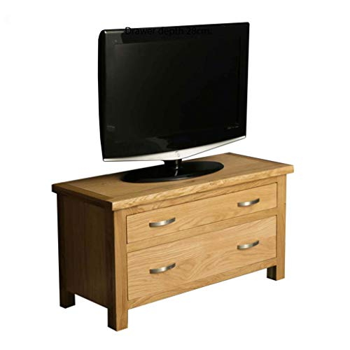 London Oak 85cm Small Chest of Drawers or TV Stand for Living Room or Bedroom for Smart Televisions up to 38 inches | Roseland Furniture Solid Wooden 2 Drawers Storage Unit | Fully Assembled Cabinet