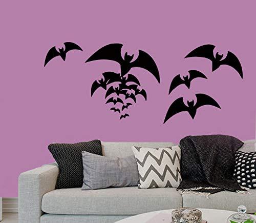 Fledermäuse Wandaufkleber Happy Halloween viele Fledermäuse fliegen Home Decor Vinyl Aufkleber Fledermaus Aufkleber Kinder Kinderzimmer Baby Zimmer Dekor 38,1 x 96,5 cm