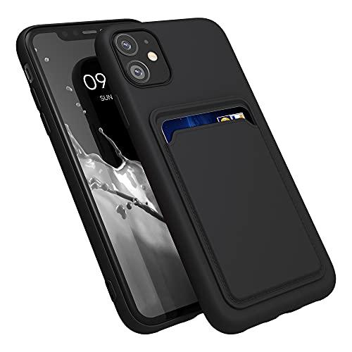 kwmobile Funda con Tarjetero Compatible con Apple iPhone 11 - Carcasa Protectora de TPU Suave - Negro