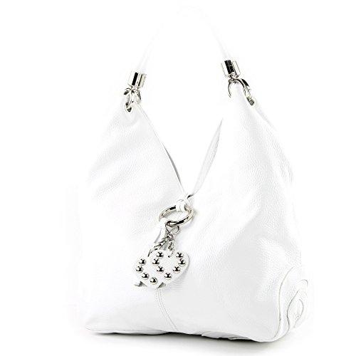 modamoda de - 330 - ital Handtasche Shopper Schultertasche Leder, Farbe:Weiß