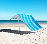 Beach Shade by Hau'alele - UPF50+ Premium Durable A Frame Portable Beach Sun Shade Canopy Tents for Family | Easy Set Up, Wind Resistant | Beach Canopy Sun Shelter Stakes & Carry Bag (Ibiza Blue)