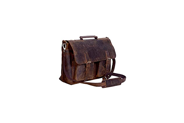 KomalC 15 Inch Retro Buffalo Hunter Leather Laptop Messenger Bag Office  Briefcase College Bag Fits Upto 15.6 Inch Laptop 82c83b38d0f