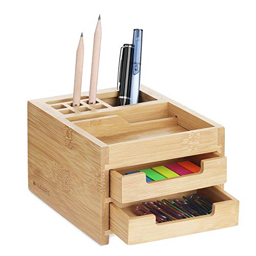Navaris Organizador de escritorio con cajones - Accesorio de sobremesa para almacenaje de accesorios de oficina - Caja de bambú de 12.7 x 15 x 9.4 CM