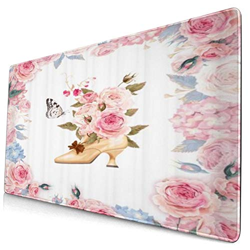HUAYEXI Large Gaming Mouse Pad,Floral And High Heels Spring Garland Of Peony Rose High Heels Full Of Flower Bunch,Non-Slip Rubber Mouse Pads Mousepad for Gaming Computer Office desk,75×40×0.3cm
