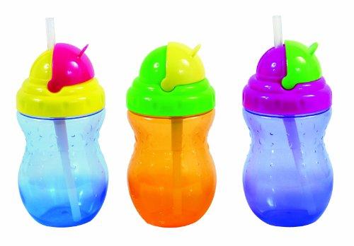 Nuby ID9688 Auslaufsichere Trinkhalm-Flasche 320 ml, Farbe nicht frei wählbar
