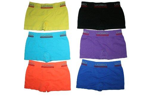 6 Pack Jungen Kinder Boxershorts TOP QUALITÄT verschiedene Farben. Microfaser Unterhosen Shorts Größen 6-8