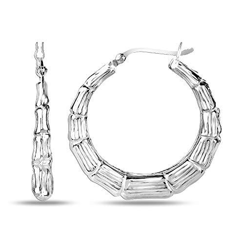LeCalla - Pendientes de aro para niña de plata de ley con diseño de bambú
