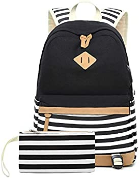 misognare Canvas College Student Laptop Backpack with USB Charging