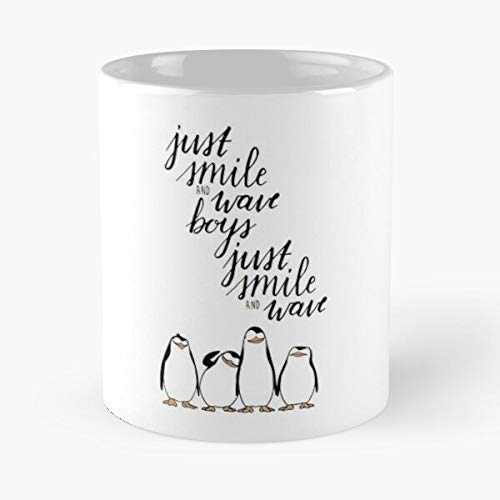 and Movie White Film Madagascar Smile DreamWorks Penguins Boys Minimalist Just Black Wave Calligraphy Best Taza de café de cerámica de 315 ml Eat Food Bite John Best Taza de café de cerámica de 315 ml