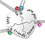 JSDDE Silver Tone Alloy Rhinestone Best Friends Forever and Ever BFF Necklace Engraved Puzzle Friendship Pendant Necklaces Set(Set of 4)