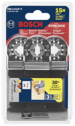 BOSCH Starlock Oscillating Tool Blades, Bi-Metal Multitool Blades for Hard Wood, Laminate and Drywall; Extra Clean Plunge Cut Saw Blades, 3-Pack, 1-1/4 Width (OSL114JF-3)
