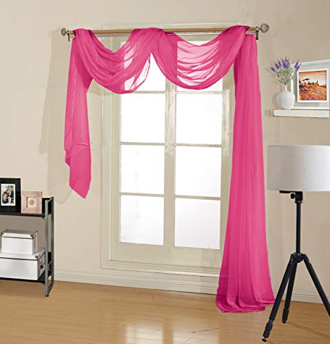 Decotex Premium Quality Sheer Voile Scarf Valance for Home & Event Designs (54' X 216', Hot Pink)