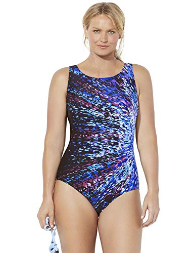 Swimsuits For All Women's Plus Size Chlorine Resistant Lycra Xtra Life High Neck One Piece Swimsuit 20 Starburst