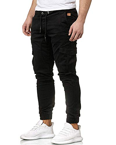 BUDERMMY Herren Hose Jogger Cargo Hosen Stretch Sporthose Jogginghose Basic Slim Fit Freizeithose Jeans, Schwarz, L