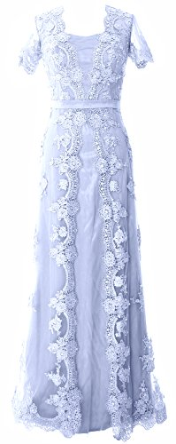 MACloth Women Mother of The Bride Dresses Short Sleeves Lace Formal Evening Gown (US12, Sky Blue) (Apparel)