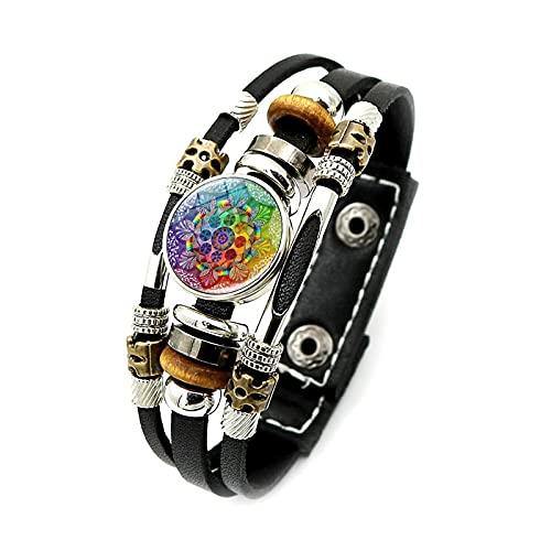 Encanto de moda Henna Yoga Pulsera Símbolo Budismo Zen Colorido Mandala Flor Botón a presión Pulseras de cuero negro para hombres Pulsera Longitud 21Cm