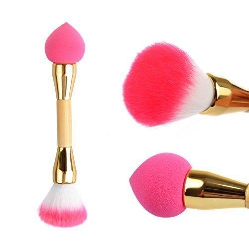 VALEUR DÉCIDEURS Double Brush - Pinceau - Fondation Brush - Brosse Professional - Make Up Brush - Brosse Maquillage - Visage pinceaux de maquillage - Maquillage éponge Powder Puff + Make Up Brush Blush (Gold)
