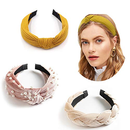 3 Pack Headbands WidePearlFabricKnot Headbands Accessories Cute Beauty Fashion Turban Hairbands for Women Wash Face Makeup Workout 4pcs