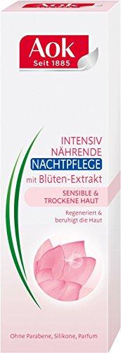 AOK intensiv nährende Nachtcreme/ mit Blüten-Extrakt/ für empfindliche&trockene Haut/ beruhigt die Haut/ 50ml