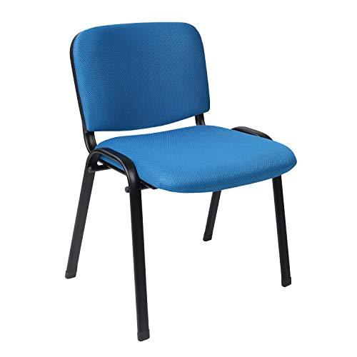 ISO, Pack 4 Sillas Confidente, Silla de Espera, Acabado en Tejido Azul, Medidas: 54 cm (Ancho) x 55 cm (Fondo) x 80 cm (Alto)