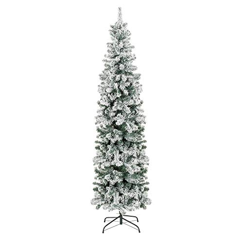 Best Choice Products 7.5ft Snow Flocked Artificial Pencil Christmas Tree Holiday Decoration w/Metal Stand