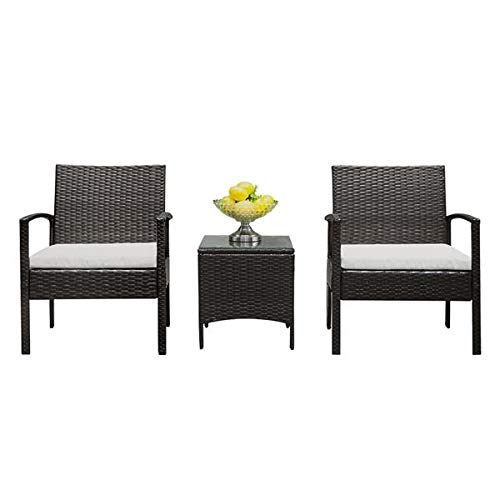 N\C TY-3pcs 2pcs Arm Chairs 1pc Coffee Table Rattan Sofa Set Brown Gradient