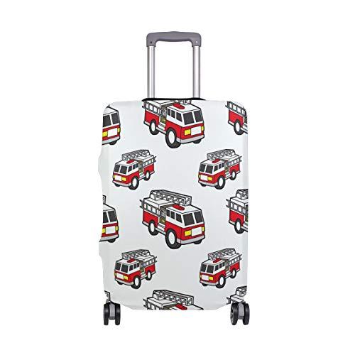 ALINLO Funda de Equipaje con patrón de camión de Bomberos de Dibujos Animados, para Maleta de Viaje, para 18-32 Pulgadas