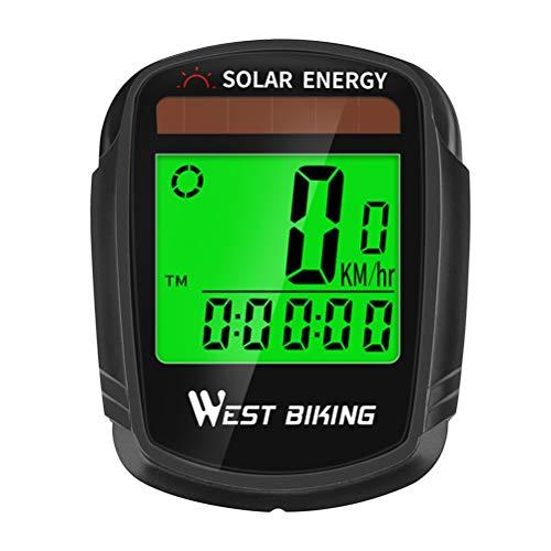 ABOOFAN Wireless Bike Computer Solar Power Waterproof Noctilucent Cycling Odometer Stopwatch Road MTB Computer Bike Speedometer (Black)
